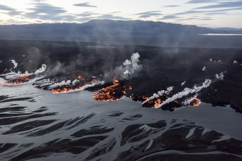 Lava flowing into the Jokulsà